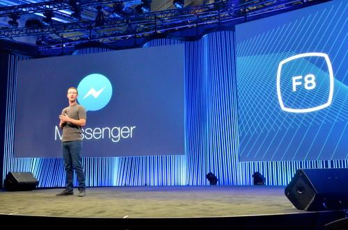 Facebook CEO Mark Zuckerberg delivering the keynote at Facebook's F8 conference on March 25, 2015.