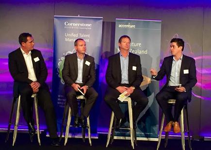 At the Business Transformation Panel: Simon Gillespie, General Manager Corporate Clients, Spark Digital; Brian Ryan, Group General Manager Development, Vector; Michael Boersen, CEO, Yellow; and Strahan Wallis, Managing Director, Porter Novelli (moderator)