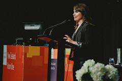 Kaye Harding of Datacom moderating the Women in Technology panel discussion at the Microsoft Ignite 2016.