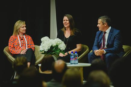 Donna Wright, Business Planning Director – Microsoft; Sonia Cuff, Technology Consultant; and Damian Sharkey, Workstream Director - Westpac NZ at the women in technology panel discussion at the Microsoft Ignite 2016.