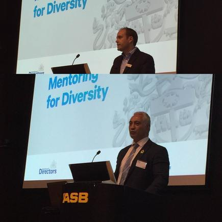 Institute of Directors CEO Simon Arcus and National List MP Alfred Ngaro at the Mentoring for Diversity programme held at The Cube, ASB Bank Building.