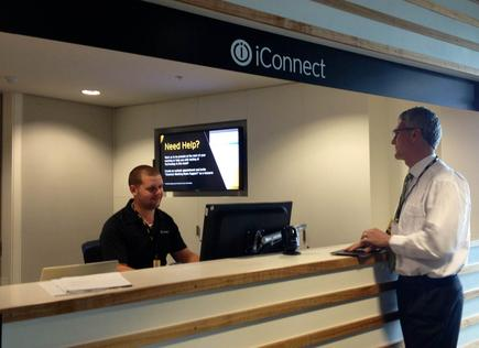 iConnect: Russell Jones checks out the help desk, where employees can borrow accessories for their smartphones and laptops.