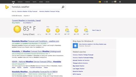 When Bing is certain of a query's intent, it triggers the new Pole Position feature, which displays prominently a set of results at the top of the page