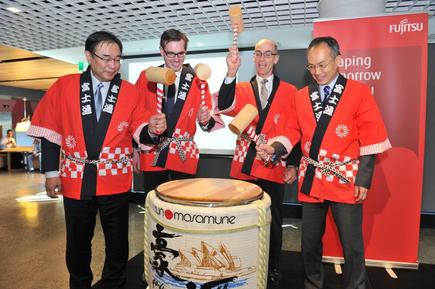 The traditional sake ceremony was held during the opening: (From left): Masami Fujita, head of global corporate, Fujitsu; The Hon Dominic Perrottet, MP, NSW Minister for finance and services; Mike Foster, CEO of Fujitsu Australia and New Zealand; and Masato Takaoka, Consul General of Japan, Sydney.