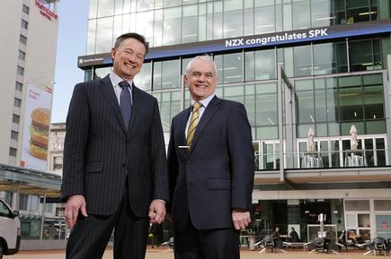 Mark Verbiest, chairman and managing director Simon Moutter, managing director, at the NZX building on the first day of trading as Spark New Zealand.