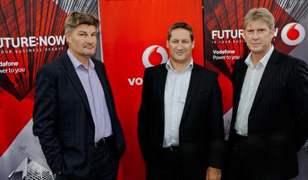Tony Baird, head of networks; Russell Stanners, CEO; and Grant Hopkins, enterprise director, Vodafone New Zealand.