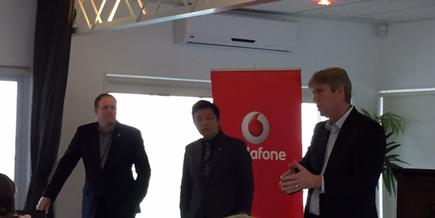 Colin James, Vodafone head of security; Dr Ryan Ko, University of Waikato lecturer; and Grant Hopkins, enterprise director Vodafone, at the Security Briefing.