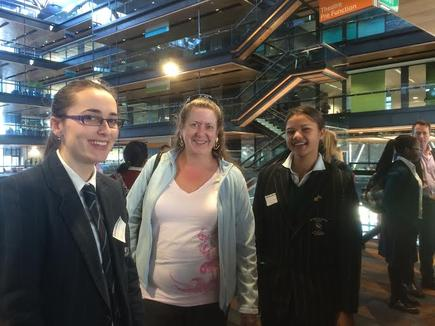 Hazel Jennings (centre) with two students during Shadow IT Day.