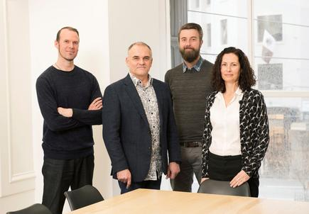 The Alloy team (left to right): Mark Glenn, Head of Experience; Rod Schofield, CEO; Andrew Joll, Head of Technology; Clare Warne, Head of Business.