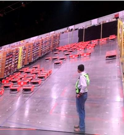 Robots at work at an Amazon fulfillment centre