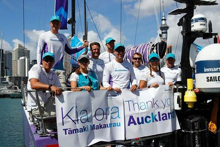 The AkzoNobel team at the Race Village in Auckland's viaduct.