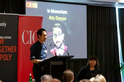 Victor Yuen of FaceMe and one of the 2019 CIO50 awardees, leads the one minute silence to remember Atta Elayyan and the victims of the Christchurch terror attacks