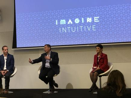 Cisco vice president for marketing Mark Phibbs with Irving Tan and Miyuki Suzuki at the 2019 Cisco Live in Melbourne