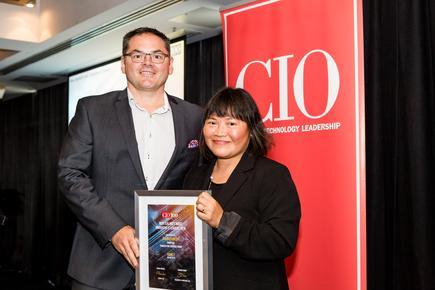 David Kennedy of Transaction Services Group with CIO NZ Divina Paredes