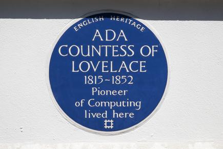 A blue plaque marks the location where Ada Lovelace lived in St. James Square in London, UK