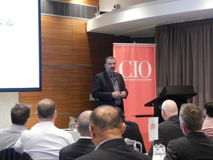 Ed Overy of KiwiRail at the CIO100 event in Wellington.