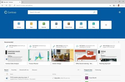 Office 365 users who log in to Edge through an Azure Active Directory account may see a new tab page integrated with the productivity suite and its services, from IT-mandated quick-click tiles to documents likely to need attention