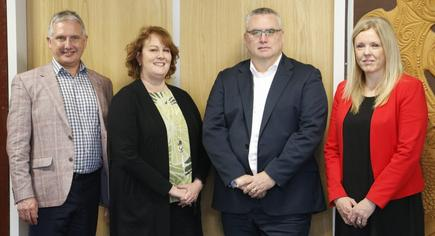 Patrick Rogers, Programme Manager;  Zoe Griffiths, Deputy Secretary Business Support and Enablement Group, Ministry of Education; Stuart Wakefield, Chief Information Officer, Ministry of Education; Rochelle Barrow, Group Manager, Evidence, Data and Knowledge Group, Ministry of Education