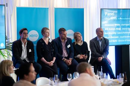 Nicole Buisson (second from right) at a fintech forum together with Will Mahon-Heap of Revolut, Rhiannon White of Westpac, Ben Murphy of Spotcap and Edward Berks of  Xero UK