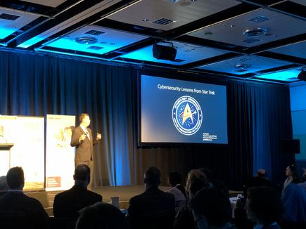 """I do not own a StarFleet uniform or tricorder but I do have a communicator"":  Brig Gen (Ret) Greg Touhill at the ISACA Oceania conference in Auckland"
