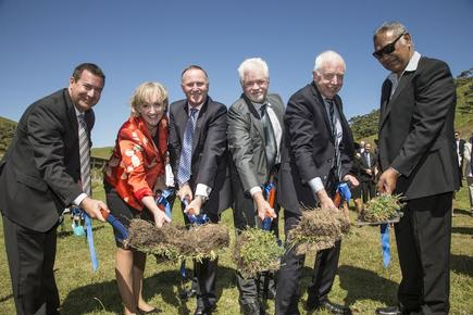 At the ground breaking ceremony of the Hawaiki Cable  attended by NZ prime minister John Key and communications minister Amy Adams.