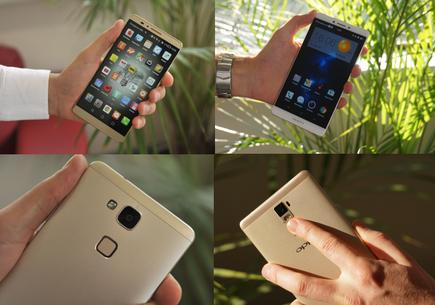 Huawei's Mate7 (left) and Oppo's R7 Plus (right)