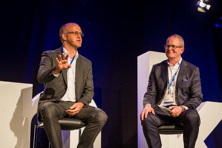 Matt Hearley of ANZ and Mike T. Smith of IBM NZ at the 2018 Think NZ in Auckland.