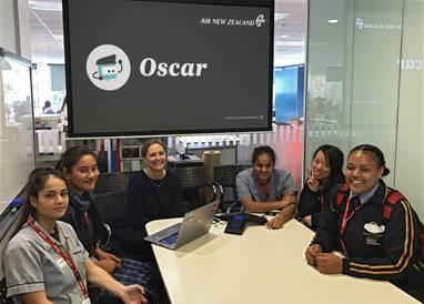The students meet with Lucy Hoult, Air New Zealand's product lead for its artificial intelligence backed chatbot Oscar.