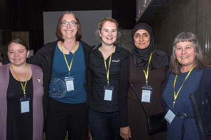 Elna Fourie (Wintec - Media Arts), Suzanne Hunt (Spark Digital NZ), Roselle O'Brien (IoT Project Manager - Downer NZ), Jannat Maqbool (Wintec), Margi Moore (Wintec - Design Factory NZ Director).