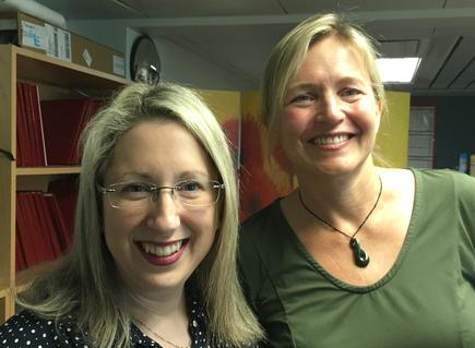 Kate Kolich with Professor Margot Gerritsen director of Stanford ICME and founder of Stanford WiDS in October 2017. Gerrittsen taught at the University of Auckland before moving to Stanford University, where she had completed her PhD.