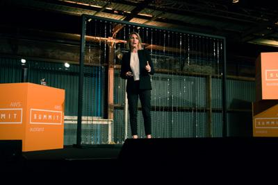Melissa Macfarlane talks about digital transformation and innovation at the 2016 AWS Summit in Auckland