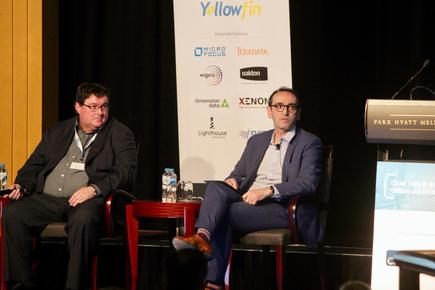 David Thomas with John Wallace from ASIC at a panel discussion at the CDAO conference in Melbourne.
