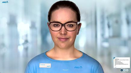 ANZ Bank's Jamie has a human face, voice and expressions. Liz Maguire, head of digital & transformation at ANZ, says she would like to see Jamie in their mobile banking app, goMoney, to help customers do their banking, and to assist people with language or accessibility issues.