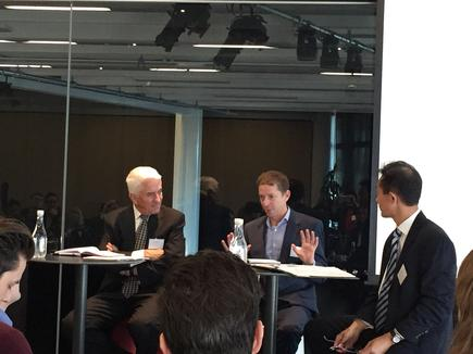 A panel discussion followed the IMD presentation: Bruce Aitken, director at Methanex; David Rae, former head of investment analytics at NZ Super Fund and now board member of Longroad Energy Holdings; and Cheewei Kwan of Kerridge & Partners.