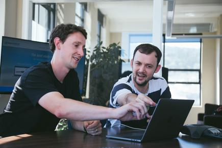 LearnCoach co-founder David Cameron (left) with brother and co-founder Mark Cameron