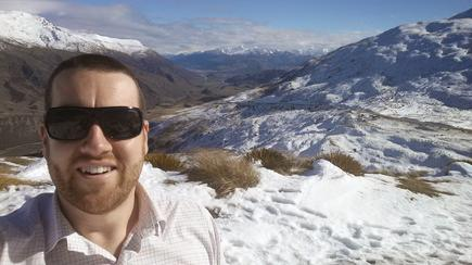 N4L client manager Matthew Hall-White, at the top of the Crown Range, driving between Queenstown and Wanaka to sign schools in these areas.
