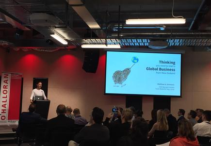 Nyriad CEO Matthew Simmons says he chose the drawing of a Kiwi looking up for his presentation on 'the thinking required to build a globally significant company' at the TechWeek 2018.