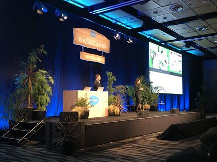 Adopt a 'test and learn approach': Jonathan Waecker and Michelle Anderson of The Warehouse Group deliver the keynote presentation at Salesforce Basecamp in Auckland