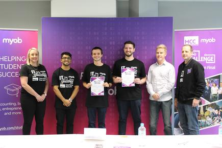 Christchurch students Corbyn Greenwood and Charlie Kavanagh of Team Vinta at the MYOB IT Challenge