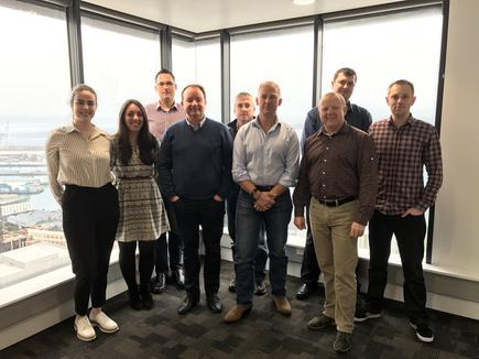The LINQ team (from left) Emma Dowman (designer), Alex Glasspool (office manager), Grant Reid (product manager), Jonny Hay (business development manager), Mark Shaw (CIO), Stew Darling (CEO), Neil Calvert (COO), Chris Lowe (systems administrator) and Jono Halse (lead developer).