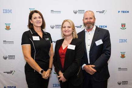 Michelle Anderson of The Warehouse Group with Katrina Troughton and Mike Smith during the launch of P-TECH in New Zealand