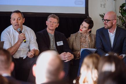 At the panel discussion: Stuart Higgins, GM product, Cotton On Group; Jamie Whiting, managing director at Barkers Clothing; designer Karen Walker; and Justus Wilde, CEO, TheMarket