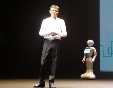 Alibaba Group founder Jack Ma at the consumer launch of SoftBank's communications robot Pepper.