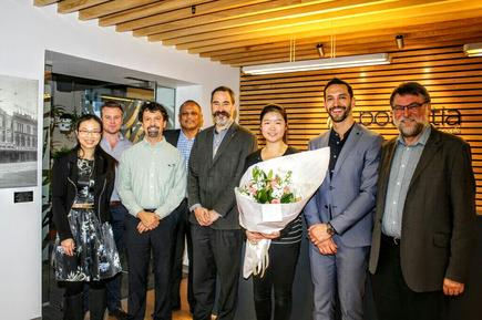 Ena Sun with University of Auckland professors and Abinesh Krishan, client strategy director and Nathan Bryant-Taukiri, managing director of Potentia, during the awarding ceremonies.