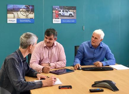 Tim Hatch (project co-ordinator), Hew Griffiths and Mark Webb at the First Gas headquarters.