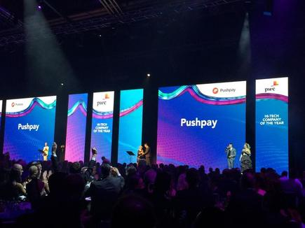 Pushpay is the big winner at the 2017 Hi-Tech Awards in Auckland, claiming the PwC Hi-Tech Company of the Year category and the IBM Innovative Company award.