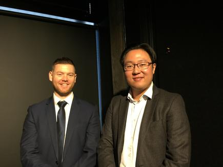 Ian Scott of Randstad Technologies and Grayson Zhang of the Ministry of Social Development at the inaugural Tech & Touch forum, where Zhang talked about the IT work experience programme. (Photo by Divina Paredes)