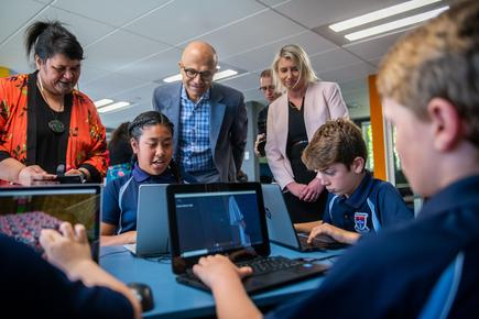 Microsoft CEO Satya Nadella visits the St Joseph's Primary School in Orakei