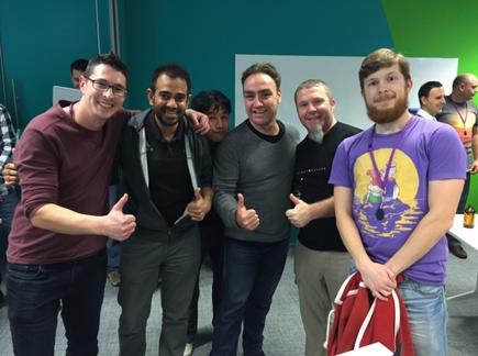 Team AI Adviser - Chris Jones, Krish Singh, Warren Chung, Erwin Woodcock, Andy Carey and Ivan Karaman - celebrate winning MYOB Hack Day with their machine learning hack.