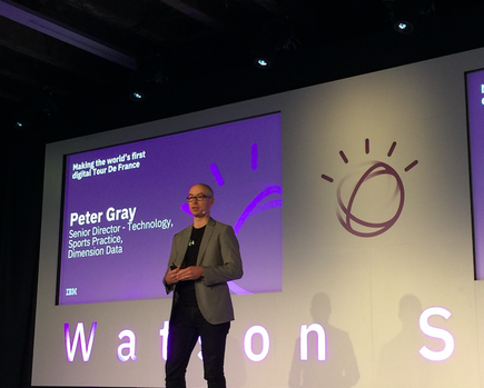 Peter Gray talks about leading the technology team at Tour de France at the first Watson Summit in Auckland (Photo by Divina Paredes)